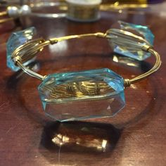 Bourbon and bow ties inspired bangle Aqua beads on gold wire size regular Jewelry Bracelets