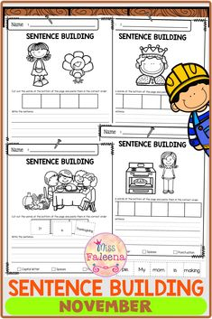 $3 · November Sentence Building has 30 pages of sentence building worksheets. This product will teach children to read, write and build sentences. Children are encouraged to use thinking skills while…  More First Grade Worksheets, Kindergarten Worksheets, Sentence Building, Morning Work, Thinking Skills, English Vocabulary, Writing Skills, Word Work, Literacy Centers