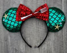 Disney Little Mermaid Ariel Inspired Mouse Ears with red bow affiliate Disney Ears Headband, Diy Disney Ears, Disney Headbands, Disney Mickey Ears, Ear Headbands, Disney Hair, Disney Little Mermaids, The Little Mermaid, Little Mermaid Minnie Ears