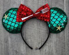 Disney Little Mermaid Ariel Inspired Mouse Ears with red bow affiliate Disney Ears Headband, Diy Disney Ears, Disney Headbands, Disney Mickey Ears, Ear Headbands, Disney Diy, Disney Crafts, Minnie, Disney Ideas