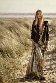 Daydreaming of leather and a shining dress on the beach.
