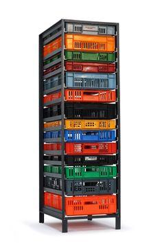 Cool storage furniture - Original and unique chest of drawers. Stationary Shop, Milk Crates, Four Corners, Diy Organization, Storage Solutions, Industrial Design, Cupboard, Diy Furniture, Dutch