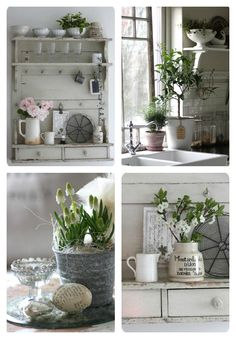 white dishes and shelves