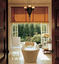 French-style master bath Stephen Sills and James Huniford created a Midwest master bath with floor-to-ceiling French doors that open to the garden. They discovered the antique Italian-marble sarcophagus tub in Belgium, and the chandelier is French. Decor, House, Interior, Home, Glamorous Bathroom, Spa Inspired Bathroom, Interior Design, Architectural Digest, Spa Inspiration