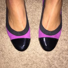Purple Flats Purple and black dress flats. the sides are stretchy so they fit well on all foot widths. the bottoms are also padded so they are very comfortable Chinese Laundry Shoes Flats & Loafers