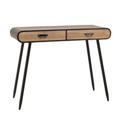WOODEN CONSOLE TABLE IN BLACK-BEIGE COLOR 100Χ40Χ80 - Drawers - Consoles - FURNITURE