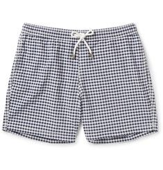 hartford slim fit gingham mid length swim shorts 160