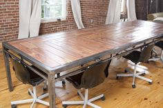 Handmade Art Deco/Industrial conference table by ElementalArthouse 12' x 4' $4000