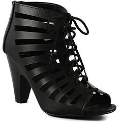 Delicious Womens Richelle Strappy Lace Up Chunky Heels Pumps 7 Black * You can find out more details at the link of the image.
