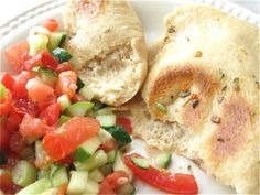 A harvest of flavors and textures: soft, warm pita; Whole Wheat Pita, Whole Wheat Flour, Middle Eastern Salads, Pita Recipes, Vegan Bread, King Arthur Flour, Juice 2, Chopped Salad, Instant Yeast