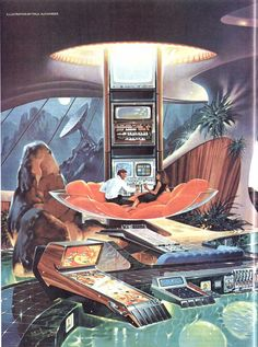 Retrofuturism Living Room with Pinball Poll