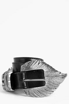 boohoo Clara Feather Buckle Belt