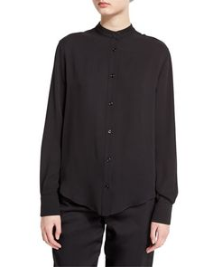 TOM FORD Stand-Collar Button-Front Blouse, Black. #tomford #cloth #