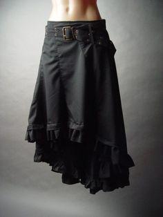 Victorian Steampunk Goth Burlesque Gypsy Peasant Ruffled Petticoat fp Skirt S