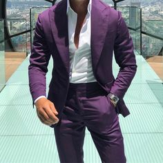 Dark Gray Wedding Suits 3 Pcs Groom Tuxedos Formal Groomsman Lapel Custom Made. Color : As the picture or Custom Made. Size: Custom Made. Purple Tuxedo, Purple Suits, Purple Blazers, Dark Purple, Wedding Men, Wedding Suits, Wedding Dress, Wedding Groom, Wedding Beach