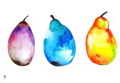 Pears Fruits Original Painting Watercolor Ink Drawing Kitchen Decor Wall Art Purple Blue Yellow Orange Pink Contemporary Art Food Nature