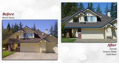 Before & after of a Gerard Stone Coated Steel Roof. Profile: Canyon Shake. Color: Gold River.
