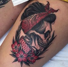 An idea to remember. Side profile candy skull with bandana and rclassic roses underneath it.... Jean Leroux, dead pin-up