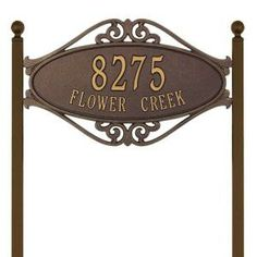Whitehall Products Hackley Fretwork Oval Antique Copper Standard Lawn Two Line Address Plaque Address Signs For Yard, Address Plaque, Copper Metal, Antique Copper, Whitehall Products, Second Line, Black Silver, Bronze, Antiques