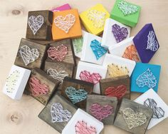 SO easy to make!  Mini Heart String Art Sign...Stand alone or can be hung up! Make great gifts & decor.