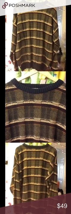 "Men's Large Long Sleeve Sweater By Natural Issues Excellent condition with colors of brown, black, burgundy, yellow, beige. Perfect boyfriend sweater, over size. chest: 44"", sleeve: 30"", Lengrh: 28"", shoulder to shoulder: 16"". (11) Natural Issue Sweaters Crewneck"