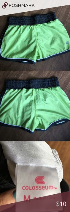 Like green and grey running shorts Like green and grey running shorts with adjustable draw string and built in underwear. Always worn with underwear! Barely worn! Fits like a small. Colosseum Shorts