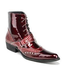 Designer Red Patent Leather Studded Goth Fashion Dress Ankle Boots Men SKU-1100140