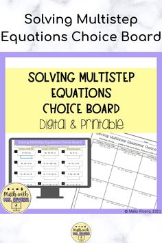 This solving multi step equations digital and printable choice board will have your students practicing this valuable skill. This choice board includes 3 columns with 5 problems to solve in each column. The problems include solving multi step equations with variables on one side and both sides of the equal sign.