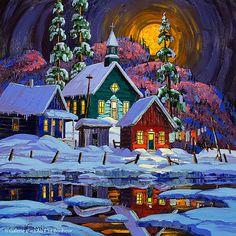 Vladimir Horik, 'Soir de la pleine lune', 20'' x 20'' | Galerie d'art - Au P'tit Bonheur - Art Gallery
