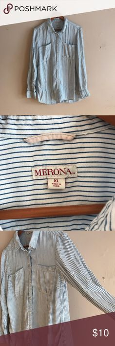 Striped Long Sleeve Flowy Button Up Top Like new Merona Striped Long Sleeve Flowy Button Up Top. This is super cute and perfect for any season. Longer length but not quite a Tunic. Merona Tops Button Down Shirts