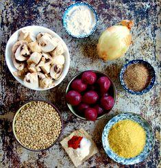 Ingredients for easy DIY vegan ground beef Vegan Dinner Recipes, Vegetarian Recipes, Snack Recipes, Cooking Recipes, Diet Recipes, Recipies, Snacks, Vegan Mince, Vegan Beef