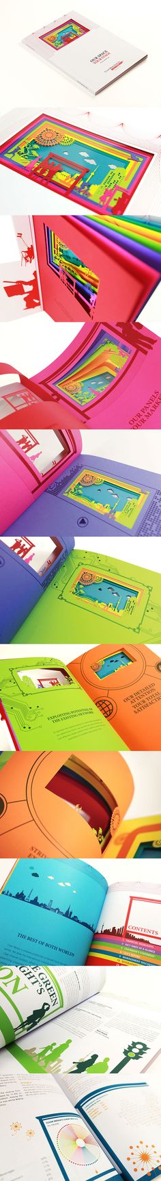 """A """"Real"""" Advertising Panel on Book The Outstanding Annual Report by Phoenix Communications. Taylor-made to bring out client's business in advertising panels, design is themed """"Our Space Your Stage"""". Acrylic film is inserted on cover by special printing procedures, colorful inside pages with laser cut images are designed. Each highlights different message, but the pages also combine as one, forming a beautiful stage (advertising panel) when the book is closed."""