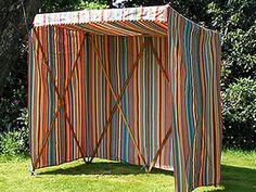 """Sun Shelter ""orange, red, greens, blues stripe"