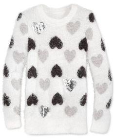 Pink Rose Intarsia-Knit Heart Sweater, Girls (7-16)