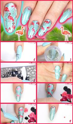 Flamingo Nail Art *These gorgeous easy DIY flamingo nails are perfect for the summer and holidays! Delectable duck egg blue and marvellous metallics really make this easy step by step nail art featuring flamingos a must have! Pig Nail Art, Pig Nails, Nail Art Diy, French Nail Designs, New Nail Designs, Simple Nail Designs, Flamingo Nails, Pink Flamingos, Gorgeous Nails