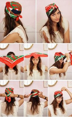 How to tie a turban with a square scarf, . - How to tie a turban with a square scarf - Turban Mode, Tie A Turban, Turban Style, Hair Turban, Turban Headbands, Hair Wrap Scarf, Hair Scarf Styles, Short Hair Styles, Bandana Styles