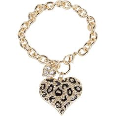 Guess Guess Gone Wild Animal Print Heart Charm Bracelet ($28) ❤ liked on Polyvore