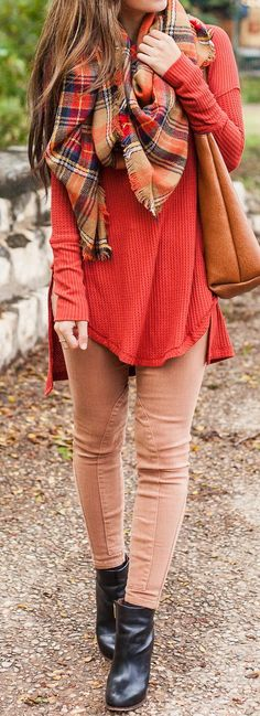 Love this look. Pants (like that the seams are different), sweater, and scarf.