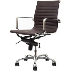 @Overstock - Retro and modern, the Malibu works in any and every office space. This contemporary chair will brighten any room and features executive styling that will be ideal in modern, open spaces.  http://www.overstock.com/Home-Garden/Malibu-Mid-back-Brown-Vinyl-Office-Chair/6677321/product.html?CID=214117 $199.99
