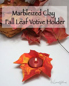 A marbleized clay votive holder make a great gift or decoration!