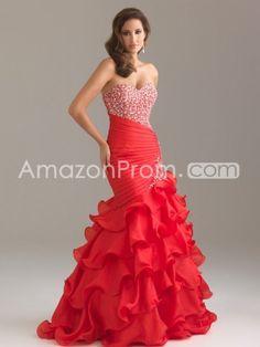 2014 Style Trumpet / Mermaid Sweetheart  beading/ sequins  Sleeveless Floor-length Organza Red Prom Dress / Evening Dress
