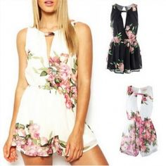 29.00$  Buy now - http://viroc.justgood.pw/vig/item.php?t=3u2a13i50661 - Sexy Playsuit Open Back Floral Printed Jumpsuit 29.00$