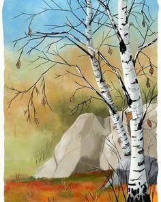 Bjørk.  The birch is a favorite motif for artists.  #galleryart #gallery_237 #kunstgalleri #galleryartist #artgallery #onlinegallery #kunstner #artmodern #artgallery #abstractartist #art2artsgallery #thatgreatart #that_greatart #thatwasgreat #digitallandscape #colorfulartwork #colorfullart #daylypaintworks #artsharing #yourworldourart #artgalleries #kunstverk #selftaughtartist #artgallary #kunstner #kunst #northofnorway #paintingsdaily #nordlandiart #artnorway #norskefjell Online Gallery, Art Gallery, Bjork, Colorful Artwork, Birch, Norway, My Arts, Artists, Landscape
