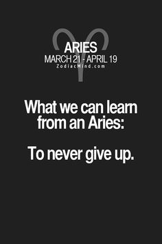What we can learn from an Aries - to never give up.