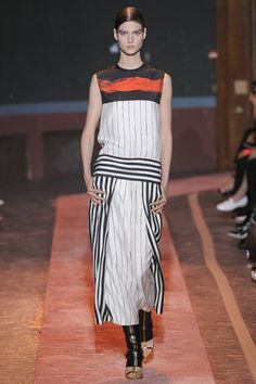Cedric Charlier White & black striped wide leg pants and top with stripe of color. #ss14