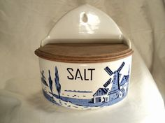 antique blue windmill czech czechoslovakian by valeriesvintagehome, $48.00 Salt Cellars, Sugar Bowls, Salt Box, Box With Lid, Cream And Sugar, Delft, Windmill, Spoons, Coffee Cans