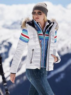 winona-dp white jacket with fur - ski parkas - women - Gorsuch