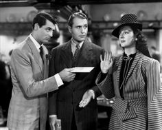 Cary Grant, Ralph Bellamy and Rosalind Russell in His Girl Friday, directed by Howard Hawks, 1940 Rosalind Russell, Cary Grant, Golden Age Of Hollywood, Classic Hollywood, Old Hollywood, Hollywood Glamour, Hollywood Style, I Movie, Movie Stars