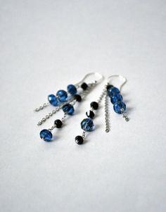 Long Blue Czech Glass Earrings  Dangle Blue Earrings  by lyralyra