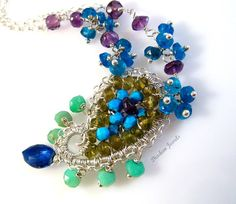 Sterling Silver Paisley Gemstone Necklace by DiademJewels on Etsy, $85.00